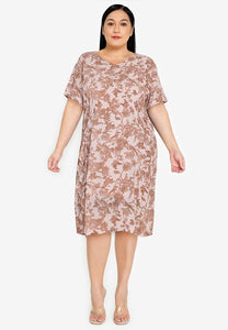 Divina Plus Size Printed V-neck Shift Dress with Frill Detail