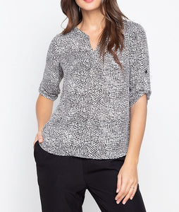 V-Neck Printed 3/4 Long Sleeve Blouse