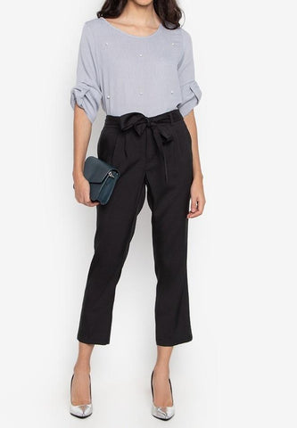 Tie Front Cropped Pants