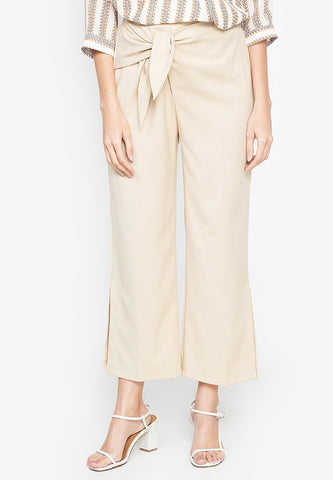 Tie Up Side Slit Pants
