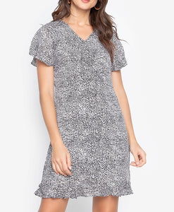 Overlap Bell Sleeve Printed Dress