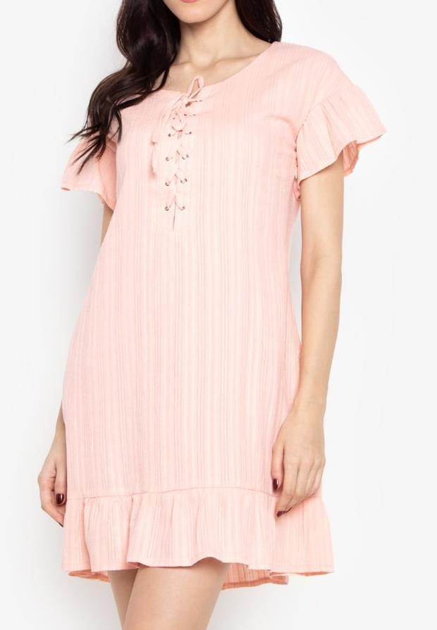 Tie-up Trumpet Hem Cotton Shift Dress