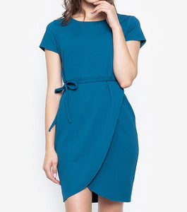 Premium Knit Stretch Overlap Dress