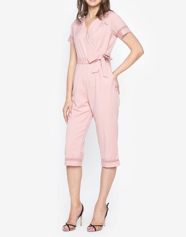 Wrap Jumpsuit with Trimmings and FREE Pearl Pin