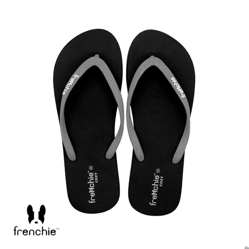 (Stock Update) Frenchie Sandal Jepit Wanita Cozy Grey/Black/Grey  SCW08