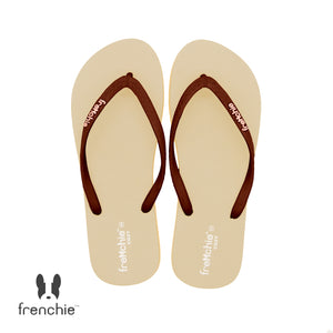 ( Stock Update) Frenchie Sandal Jepit Wanita Cozy Brown/Beige/Brown  SCW09
