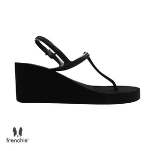 WEDGES STRAPPY BLACK/ METALIC BLACK SHS01 (FACTORY OUTLET PRODUCT)