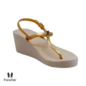 WEDGES STRAPPY MOCCA/GOLD SHS02 (FACTORY OUTLET PRODUCT)