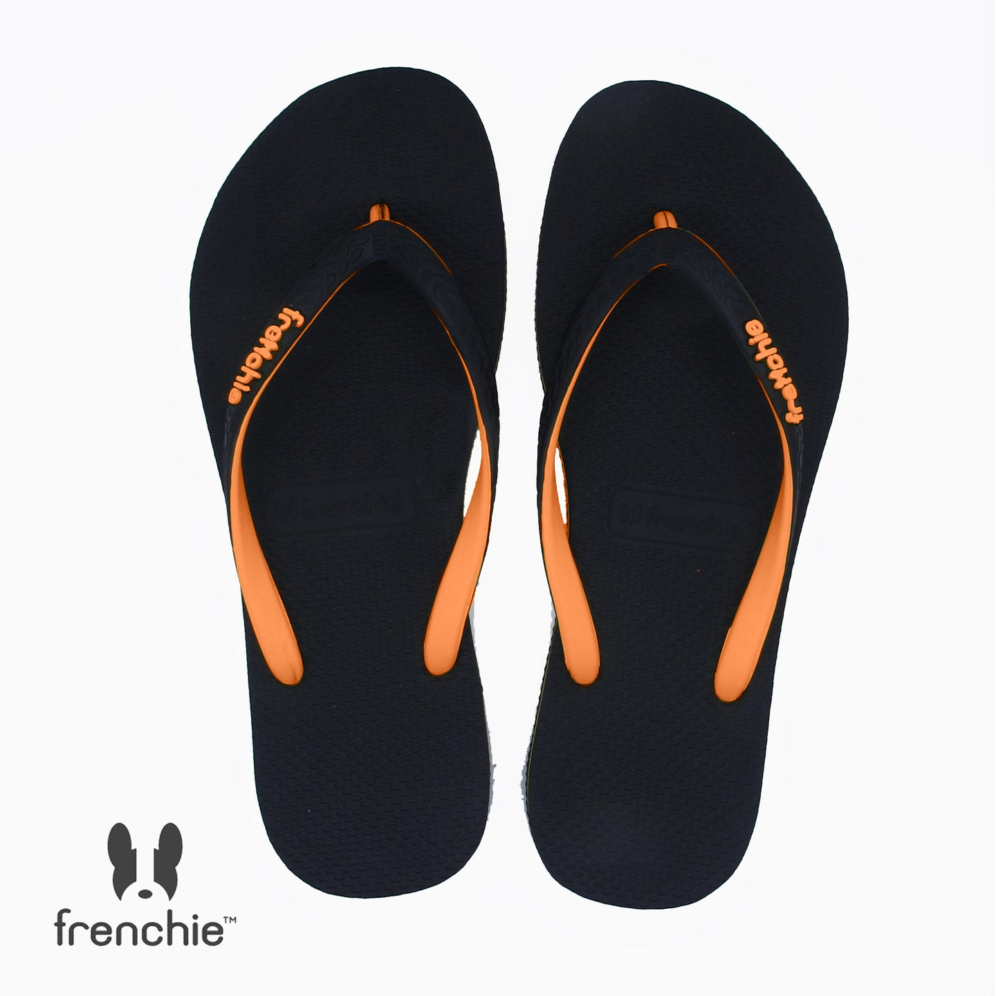 (Stock Updated) Frenchie Sandal Jepit Wanita Onyx Slim Black/Orange/Orange SOS04
