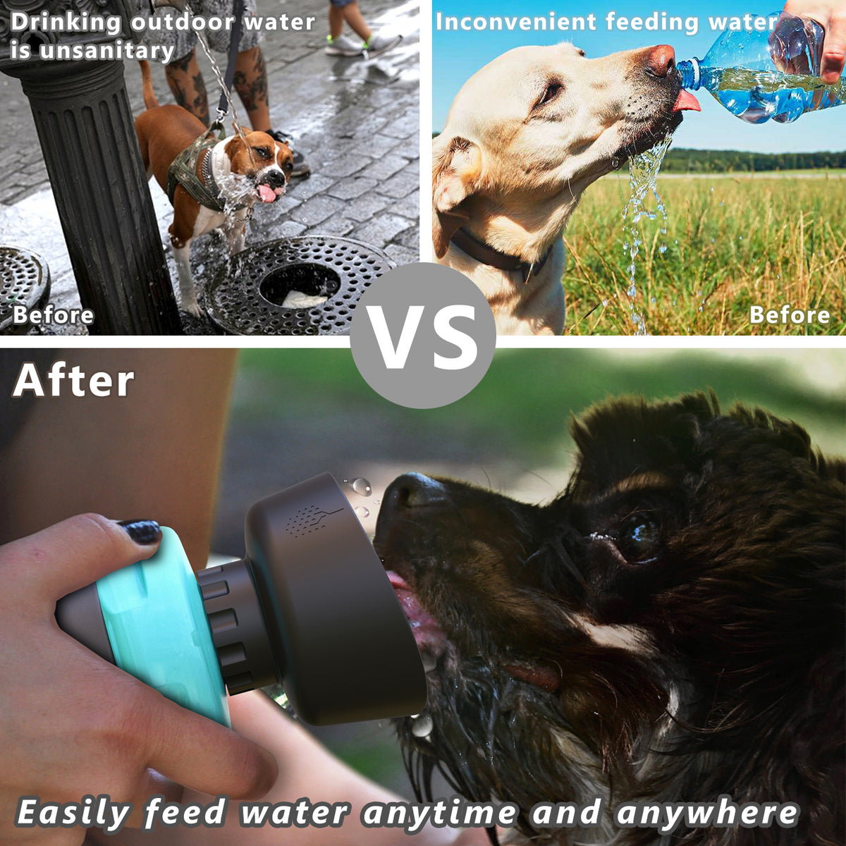 Lesotc Portable Pet Water Bottle for Dogs, Foldable Dog Water Bottle,  BPA FREE, 18 Oz
