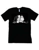 Black Stamping Cats Tee