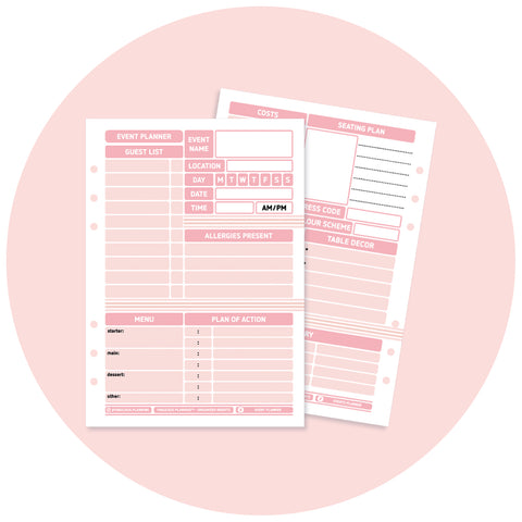 Inserts - Pink Blush Event Planner Pack