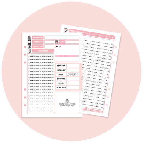 Inserts - Pink Blush Recipe Pack