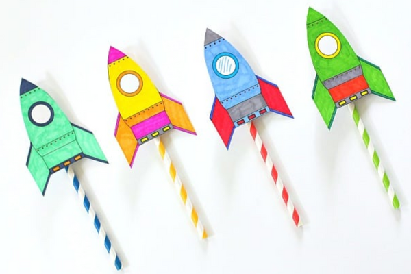 DIY Paper Rocket Straw Launcher STEM Toy
