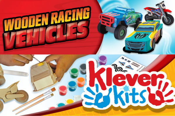 KLEVER KITS - DIY WOODEN RACE CAR PAINT CRAFT KIT FOR KIDS