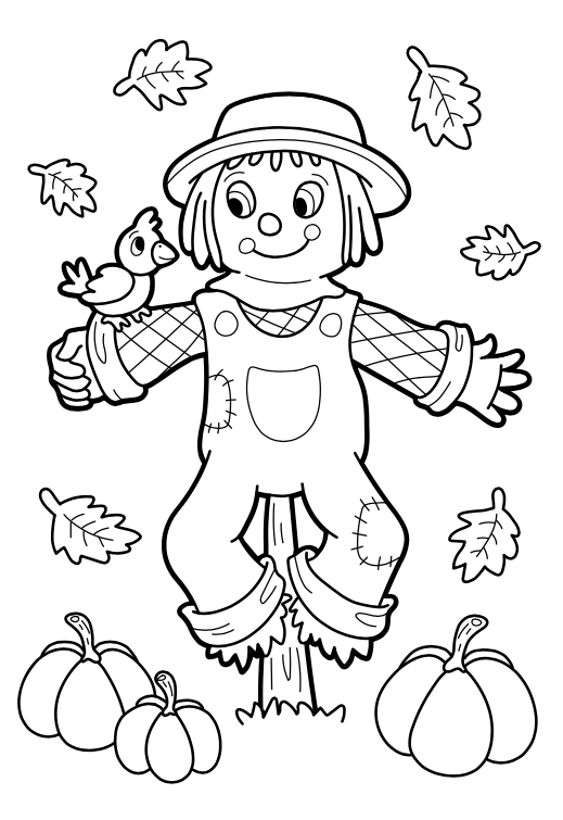 First day of fall free printable coloring page