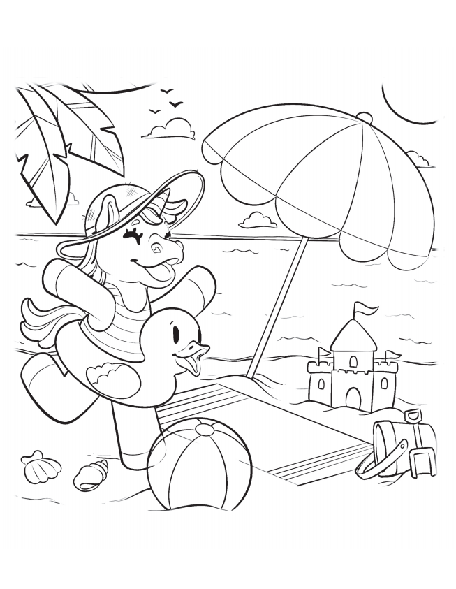 A day at the beach free printable coloring sheet for kids