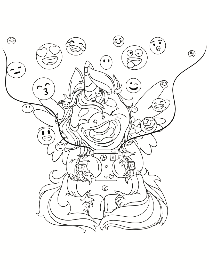 Unicorn With Emojis Free Coloring page