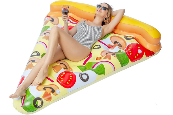 JOYIN Giant Inflatable Pizza Slice Pool Float (Vegetarian) with Cup Holders