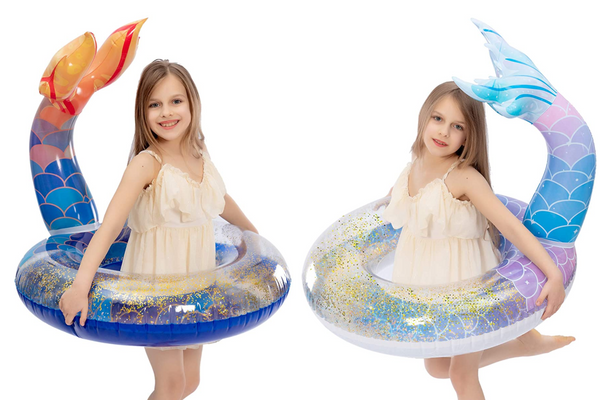 JOYIN Inflatable Mermaid Tail Pool Float with Glitters (2 Pcs)