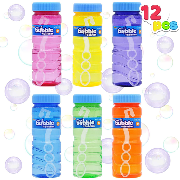 12 4OZ BUBBLE BOTTLES WITH WAND ASSORTMENT