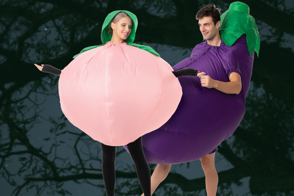 ADULT COUPLES COSTUMES - INFLATABLE PEACH & EGGPLANT