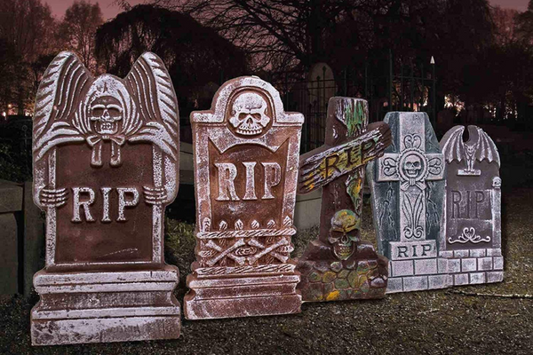 Halloween Foam RIP Graveyard Tombstones (5 Pack), Headstone Decorations and 12 Bonus Metal Stakes