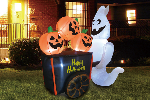 Halloween 6 FT Yard Inflatable Ghost Pushing Pumpkin Cart with Build-in LEDs