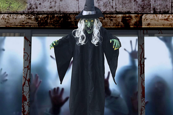 Life Size Hanging Creepy Animated Witch for Halloween Decorations