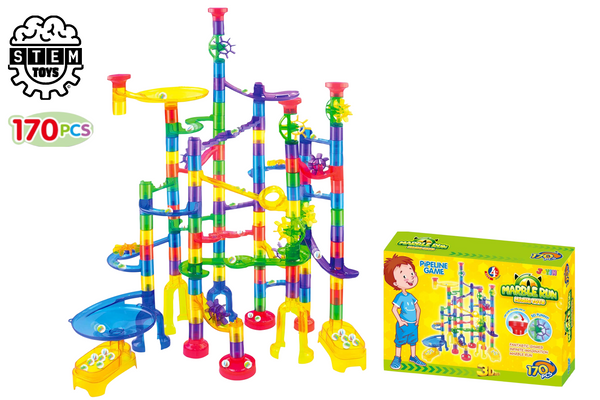 170 piece Vibrant Colored Marble Run Toy Set for Kids