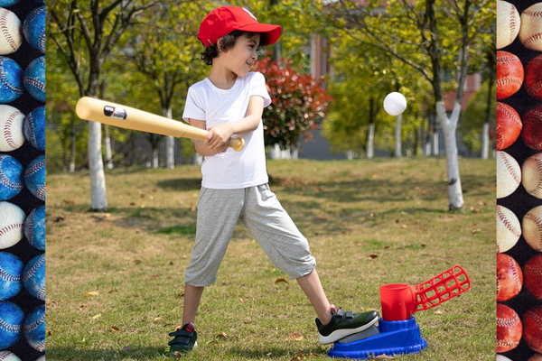 Young Boy Playing With Step-On Self Pitching Baseball Toy