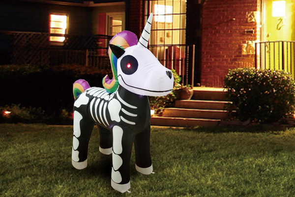 Halloween 5 FT Yard Inflatable Skeleton Unicorn with Build-in LEDs