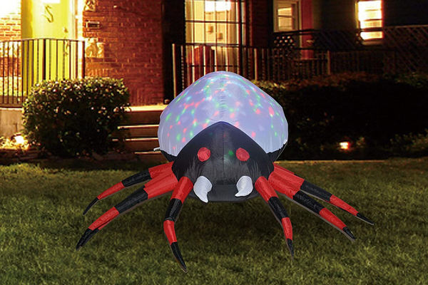 Halloween 4FT Yard Inflatable Projection Kaleidoscope Spider with Build-in LEDs
