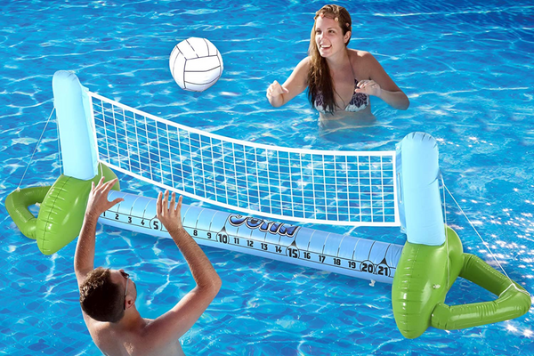 JOYIN Inflatable Volleyball Net & Basketball Hoop Pool Float - Swimming Games