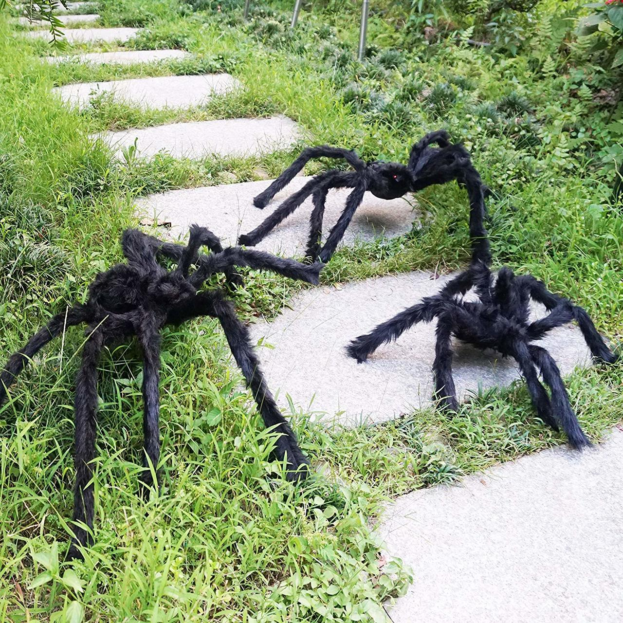 Three Realistic Looking Hairy Spiders with Giant Halloween Spider Web for Best Halloween Decorations Props