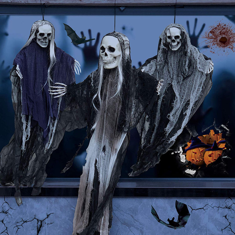 Pack of 3 Hanging Halloween Skeleton Grim Reapers
