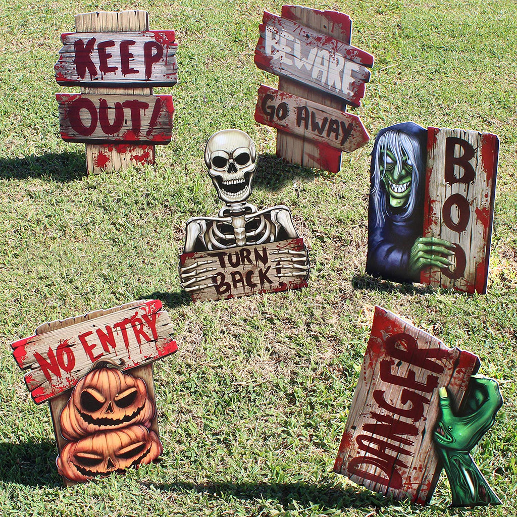Halloween Yard Stake Warning Sign