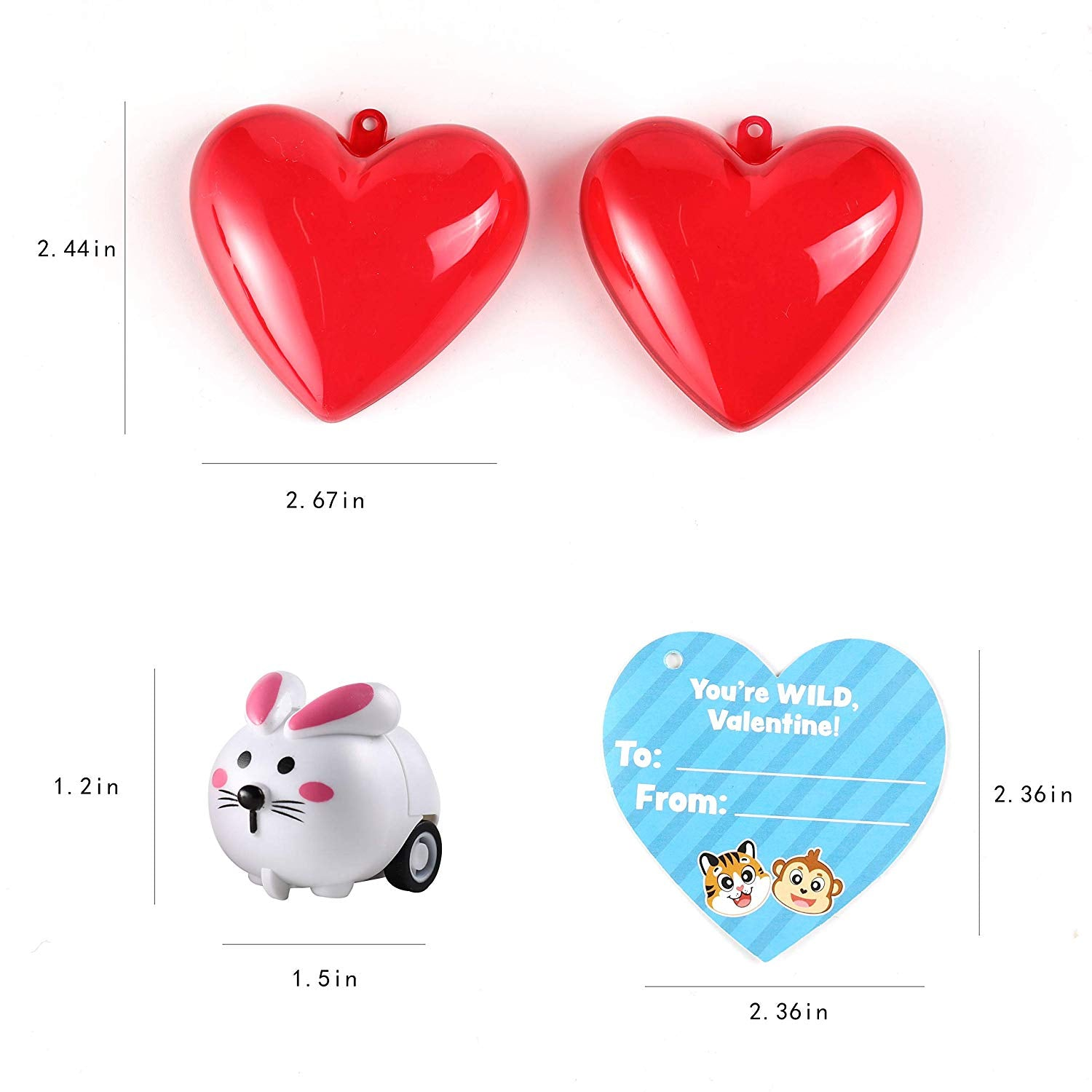 Valentine Animal Pullback Cars Set