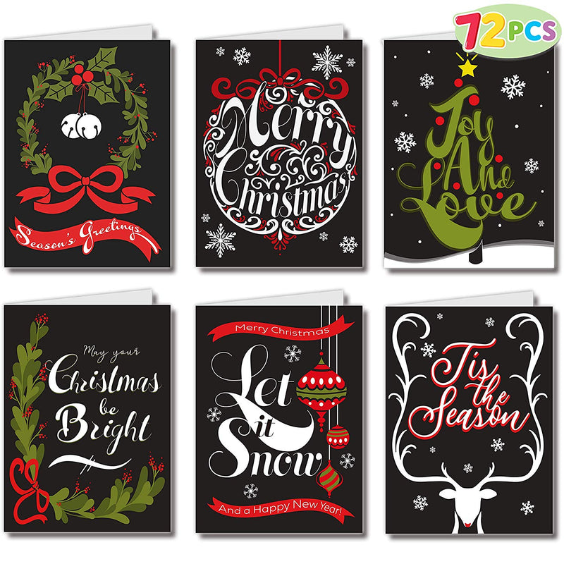 72 Piece 6 Artistic Designs & Envelopes Christmas Greeting Cards