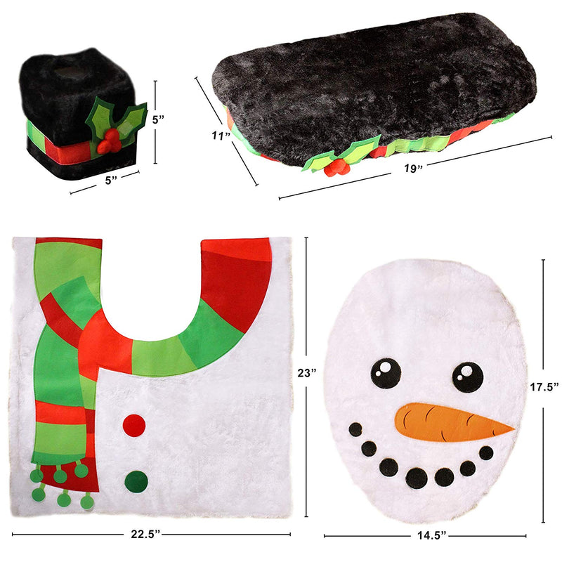 5 Pieces Christmas Snowman Theme Bathroom Decoration Set