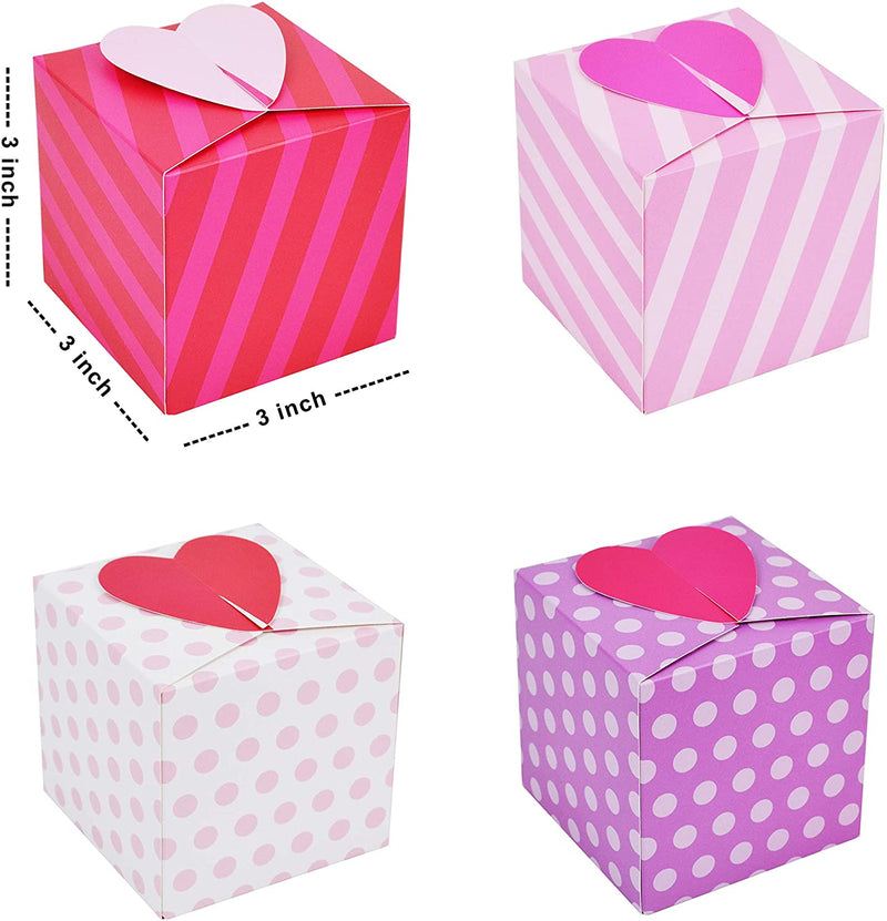 24 Pcs Valentine's Heart Shape Repeated Pattern Treat box for Kids
