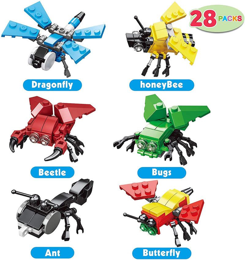 24 Packs Valentines Day Cards with Insect Building Blocks