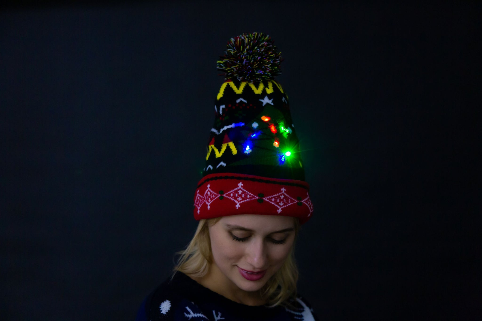 Christmas Light up Knitted Beanie Cap