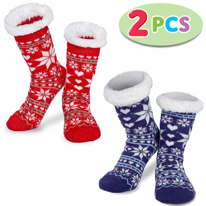 2 Piece Women's Fleece Soft Slipper Socks