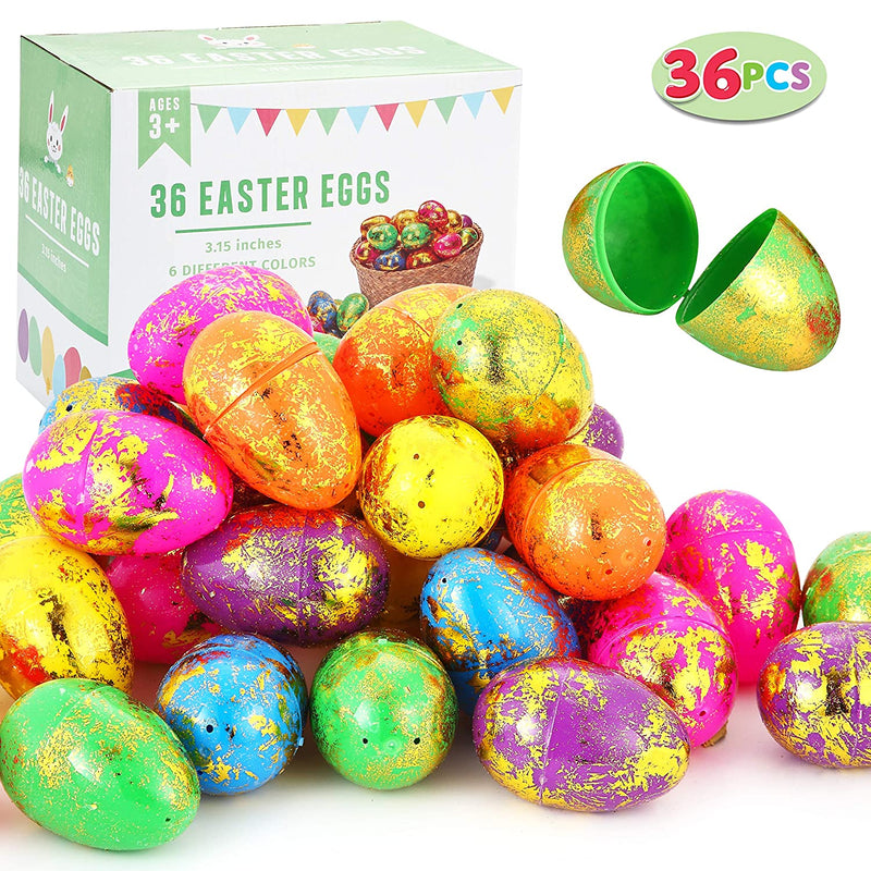 36 PCS EASTER EGG SHELL- SCATTERED GOLD (8 CM)