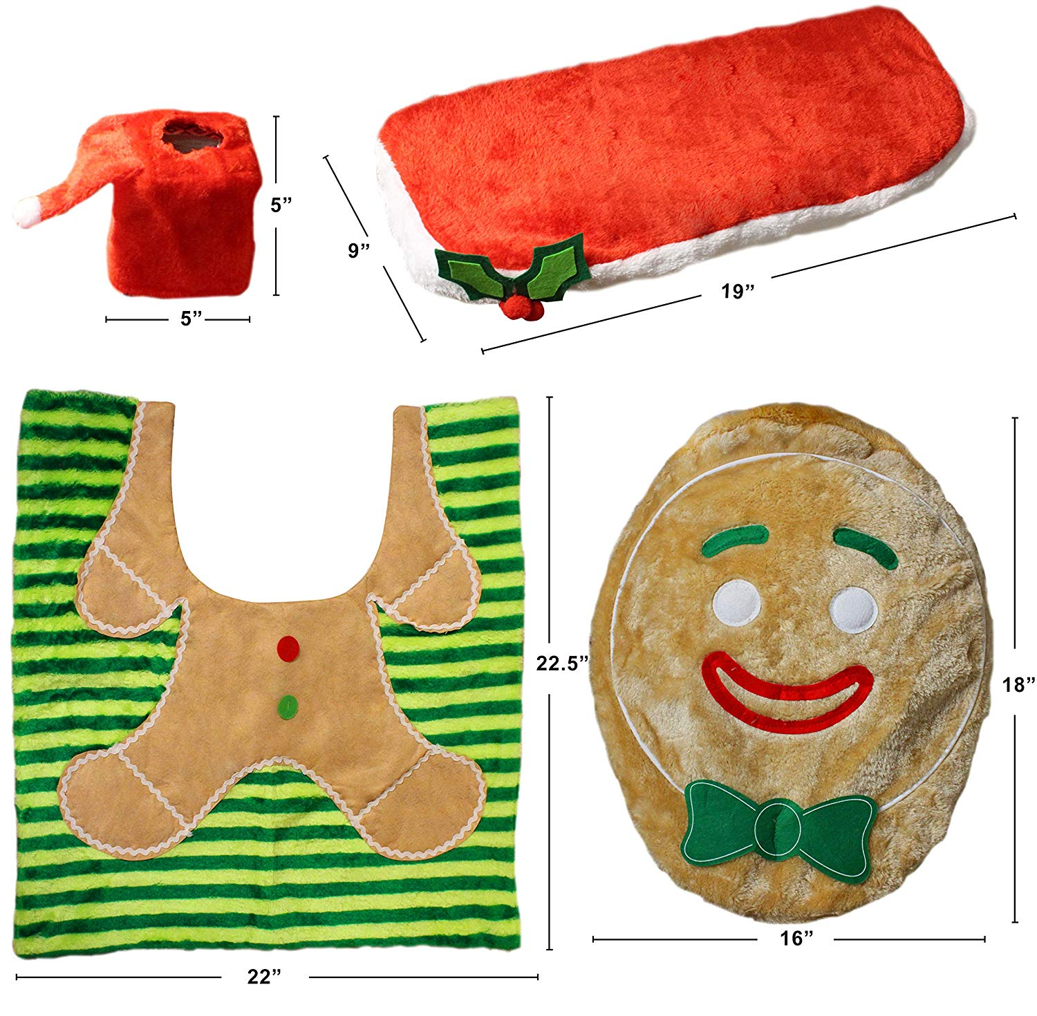 5 Pieces Christmas Gingerbread Theme Bathroom Decoration Set