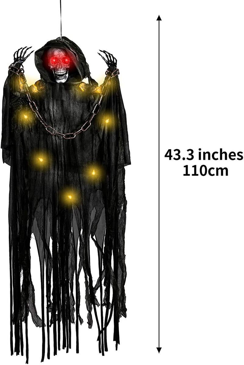 "43"" Light Up Hanging Reaper with Chain"