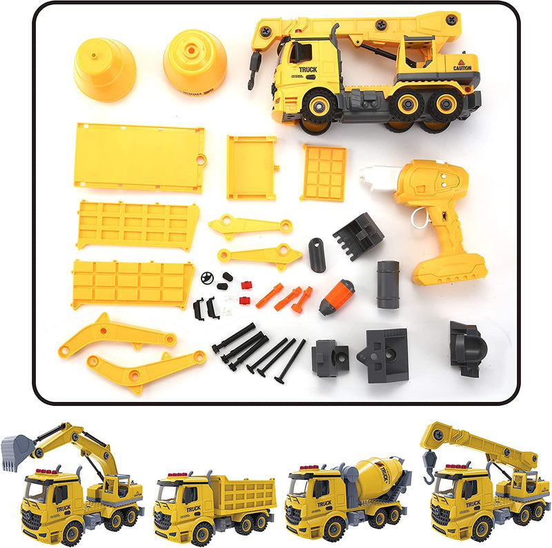 Construction Truck Remote Control 4 in 1 Take Apart Car Toys