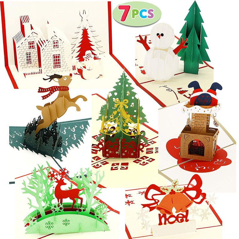 Pack of 7 Pop-up 3D Christmas Greeting Cards