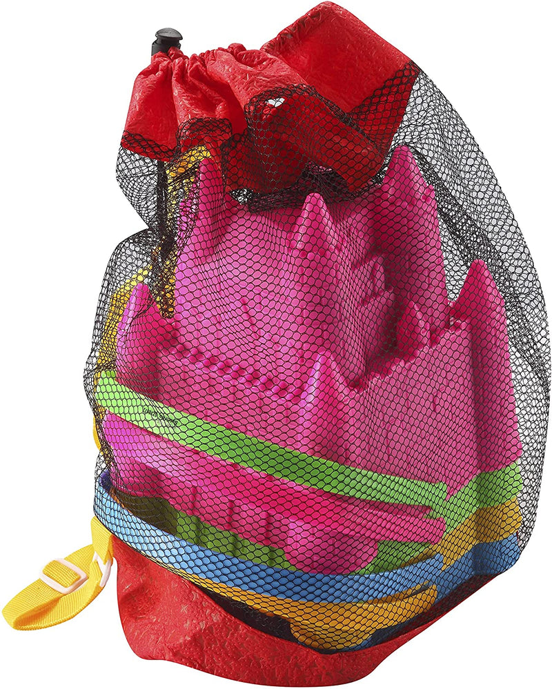 4 Pcs Castle Beach Buckets Toy Set with Mesh Bag